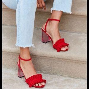 UO Red Ruffle Block Heels